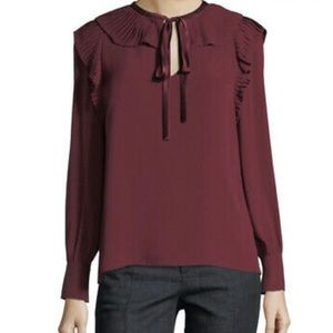 Tory Burch Diana Chiffon Pussy Bow Blouse, Red, 12